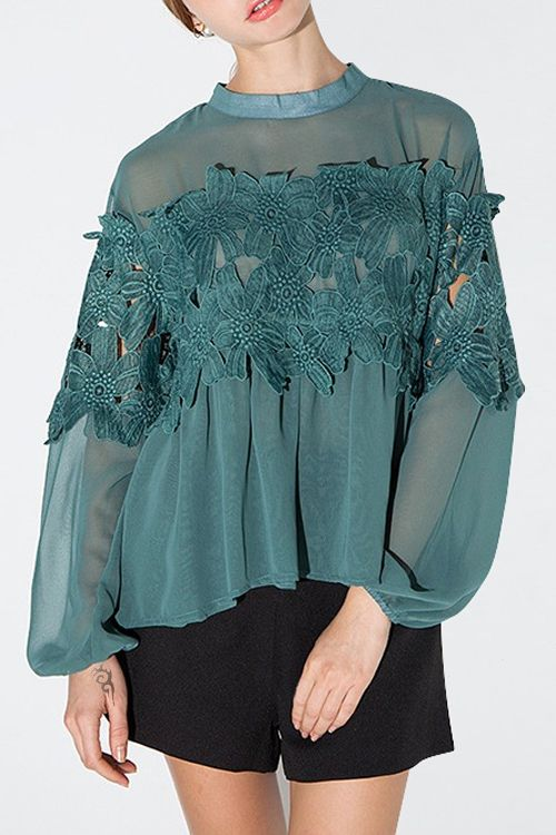 Lace Patchwork Green Chiffon Blouse