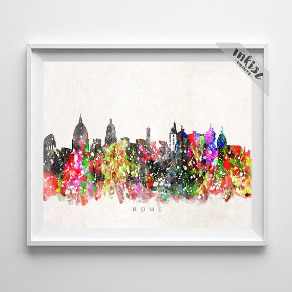 Rome Skyline, Print, Italian Wall Art, Watercolor Painting, Italy Poster, Cityscape, Living Room Decor, City Skyline, Christmas Gift. Wall Art. PRICES FROM $9.95. CLICK PHOTO FOR DETAILS.#inkistprints #skyline #watercolor #watercolour #giftforher #homedecor #nursery #wallart #walldecor #poster #print #christmas #christmasgift #weddinggift #nurserydecor #mothersdaygift #fathersdaygift #babygift #valentinesdaygift #dorm #decor #livingroom #bedroom