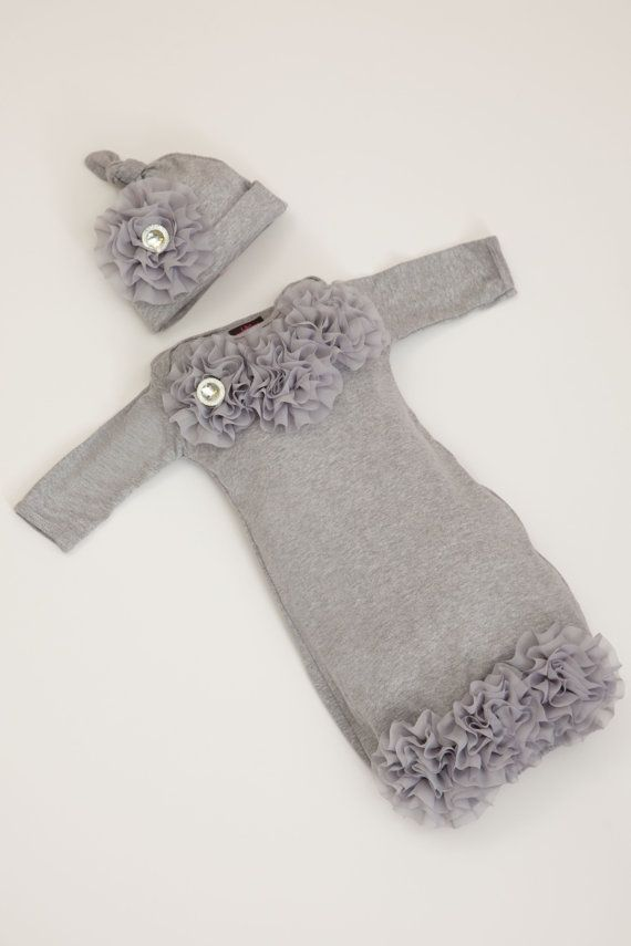 Newborn Baby Layette Grey Cotton Baby Gown with by jacqueline225, $35.00