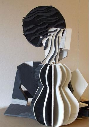 "cut wood and acrylic, 3D rendering of cubist painting "" woman with juice"" -by alex deluca"