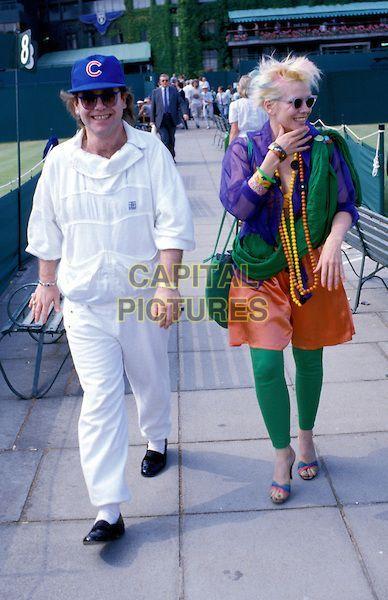 ELTON JOHN & PAMELA STEPHENSON .eighties fashion, tennis