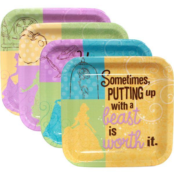 Cute phrases Disney princess plates - 8/pk, $2.22 ea