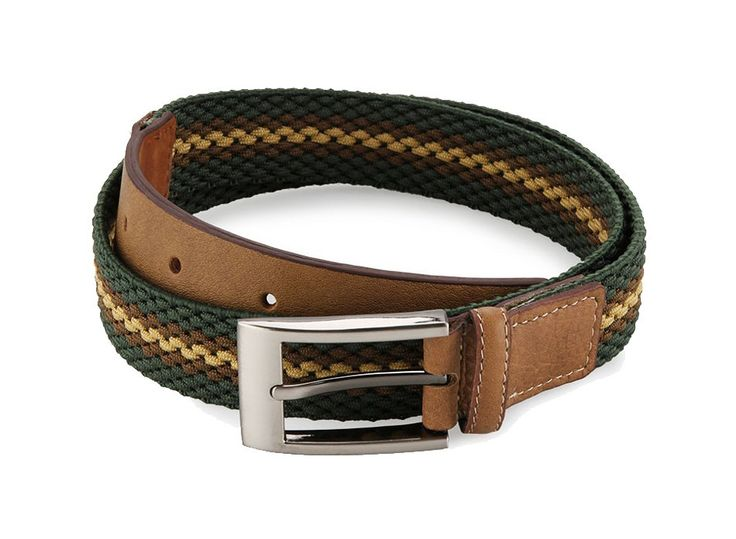 Maximize your look with Elastic Belt by Lombardi Giovanni. Simple belt that made from good material, stripes pattern, combination of green canvas and brown genuine leather, makes this belt look so stylish. Length 95 cm.%0A%0A http://www.zocko.com/z/JG0he