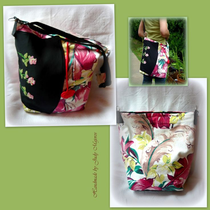Handmade by Judy Majoros - Floral crossbody bag. Recycled bag