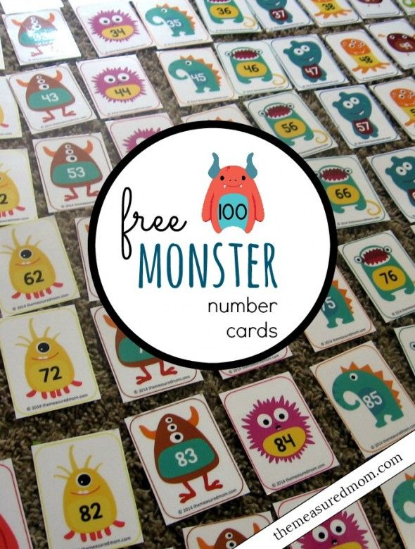 Do your own hundreds chart activities with these adorable (free) monster number cards.  So many possibilities!