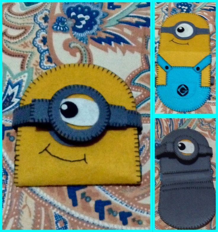 100% handmade minion wallet using felt cloth