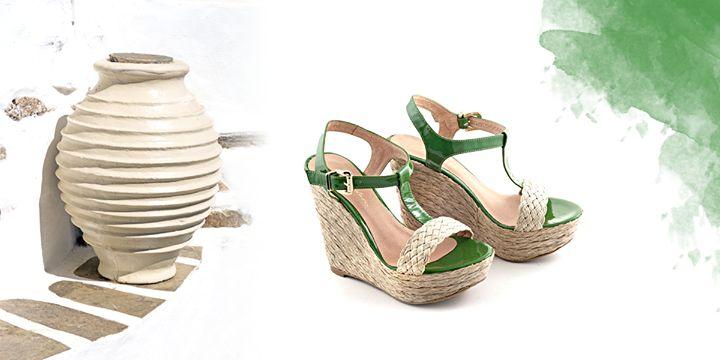 Έμπνευση από το ελληνικό καλοκαίρι. Greek summer inspirations.  #chaniotakis #Greece #shoes #green wedges