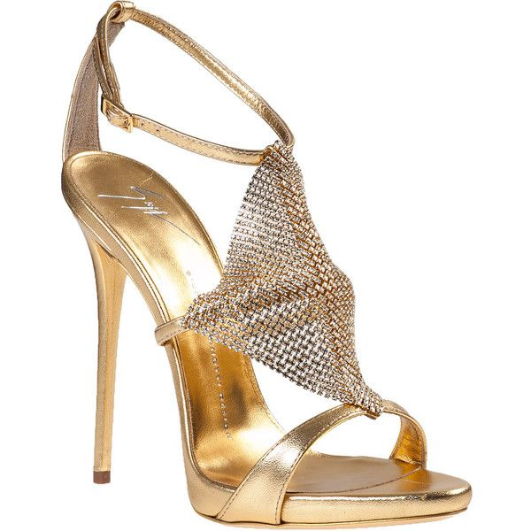 GIUSEPPE ZANOTTI Crystal Mesh Evening Sandal Gold Leather ($558) ❤ liked on Polyvore featuring shoes, sandals, heels, giuseppe zanotti, sapatos, gold leather, gold heeled sandals, leather strap sandals, strappy high heel sandals and strappy heeled sandals