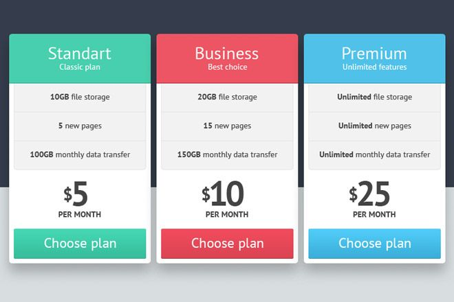 Pricing Table Free PSD Download - Web Design Hood