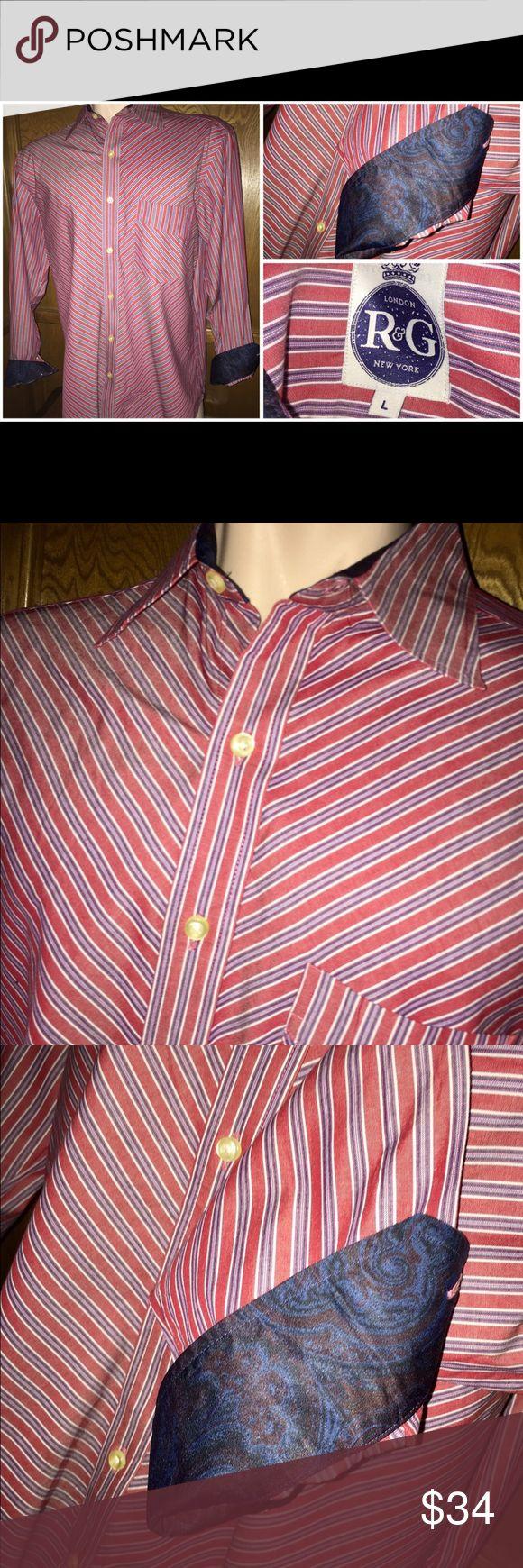 ROBERT GRAHAM R & G Red Striped Flip Cuff Shirt L ROBERT GRAHAM R & G Red Striped Flip Cuff Shirt L Robert Graham Shirts Casual Button Down Shirts