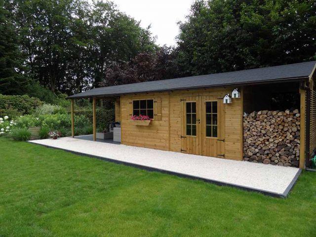 Abri De Jardin Classique Avec Bucher Et Terrasse Couverte Abri De Jardin Moderne Abri De Jardin Jardin Classique