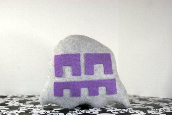 Pixel Punkin' Ghost Plush Toy - Gray N Purple Wide - Z+Ghost