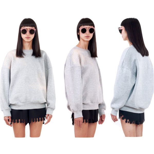 Bubble Grey Sweatshirt | Ioana Ciolacu by ioana-ciolacu on Polyvore