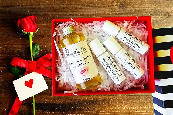 Valentines spa gift for her, Bath spa gift set, Massage Oil for couple, Spa gift box, First Valentine gift set, Sexy Valentines, love potion
