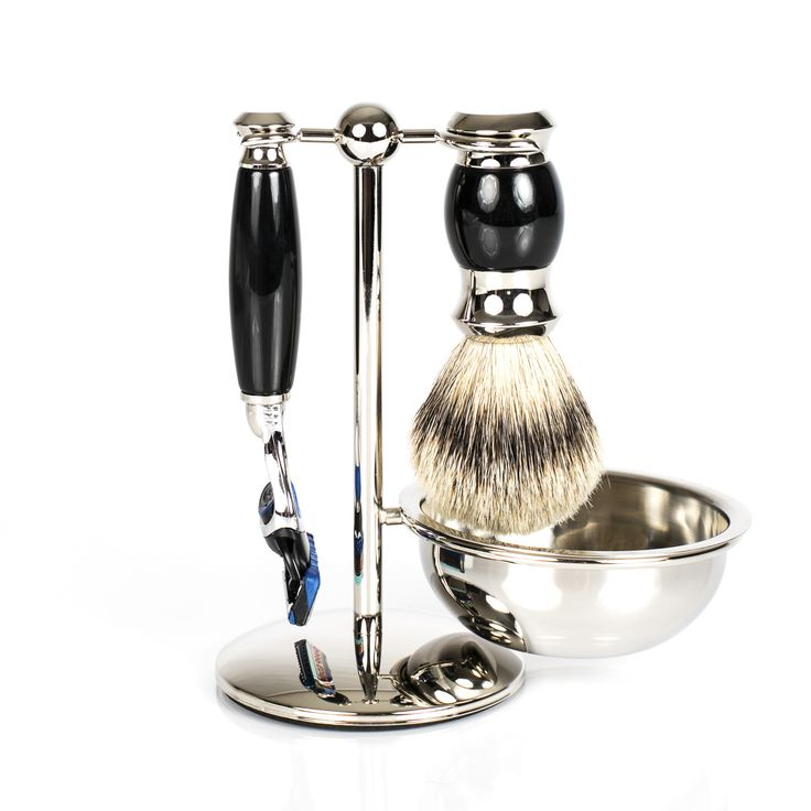Fendrihan 4-Piece Gillette Fusion Shaving Set with Silvertip Badger Brush, Faux Ebony