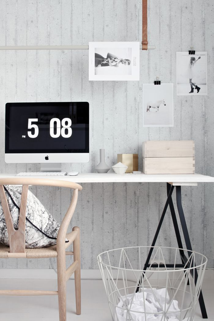 Ferm Living workspace, stylizimo, home office, concrete