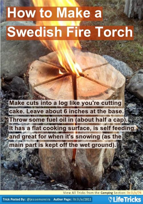 Camping - How to Make a Swedish Fire Torch. This would be a good use of those huge logs we have. Probably too heavy to lug to a campground tho.