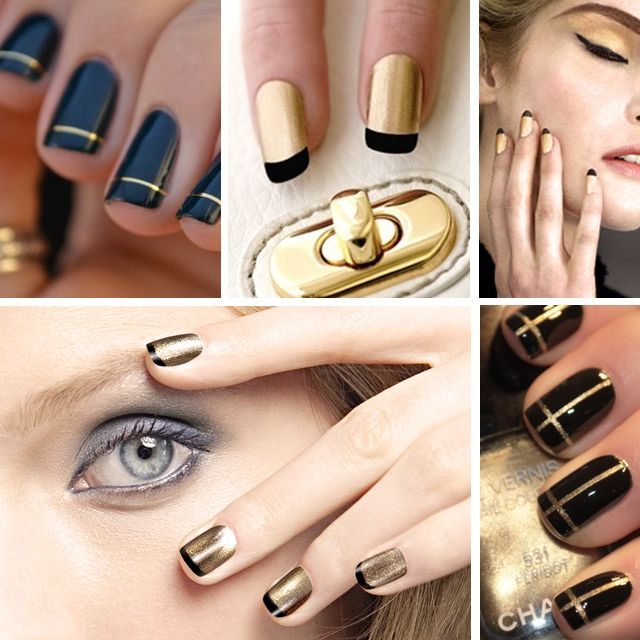 black and gold nail manicures ...