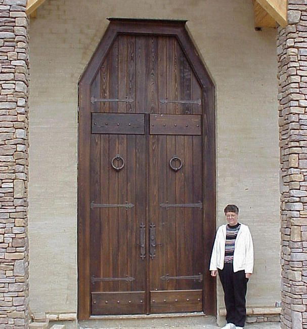 10' doors, 15' w/ over head transom, cypress distressed w/