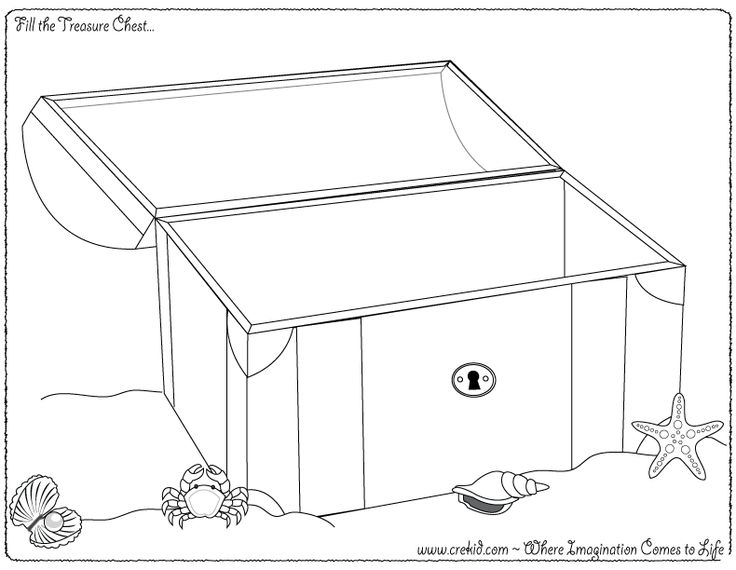 Fill the treasure chest! CreKid.com - Creative Drawing Printouts - Spark your child's imagination and creativity. So much more than just a coloring page. Preschool - Pre K - Kindergarten - 1st Grade - 2nd Grade - 3rd Grade. www.crekid.com