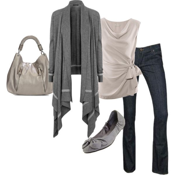 """""""Lovely in Gray"""" by sannroberts on Polyvore: Clothing Style, Fashion Styles, Clothes Jewelry, Clothes Shoes Purses Jewelry, Ballet Flats, Polyvore, Gray, Style Clothing, Closet Inspiration"""