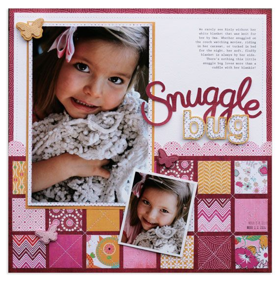 I LOVE the quilt design and the stitching on this page!  Fantastic LO!    snuggle bug | basic grey - Scrapbook.com