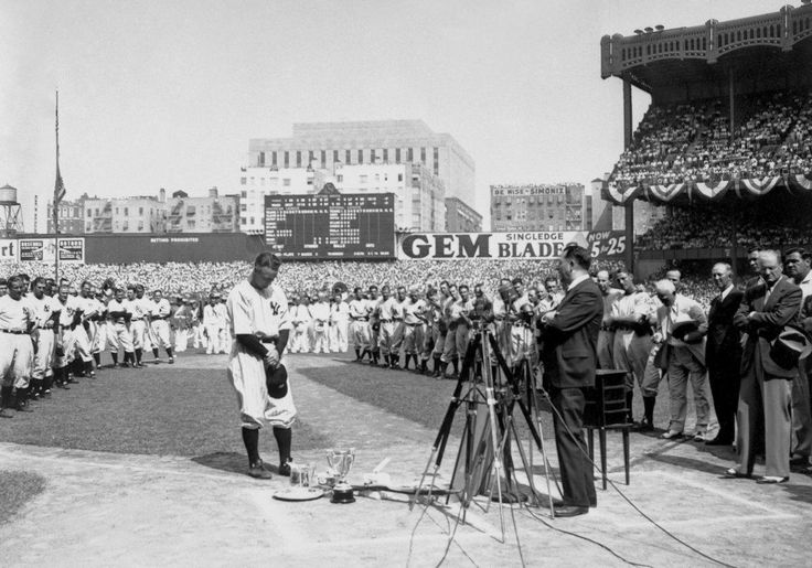 """""""Today, I consider myself the luckiest man on the face of the earth."""" Lou Gehrig's farewell speech, after having been diagnosed with ALS. (July 4th, 1939)"""