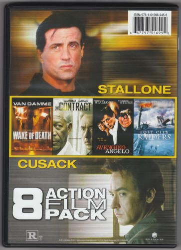 8 Action Film Pack 2-DVD Set, Millennium Entertainment ME-51699, DVD Release: 2013, includes Stolen, Direct Action, Rampart, The Contract, Wake Of Death, Avenging Angelo, The Circuit,and Lost City Raiders. $4