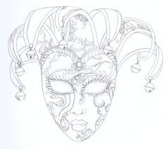 venetian masks drawings - Google Search