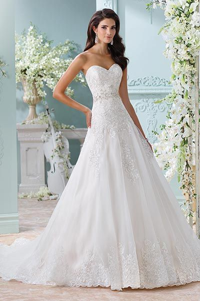 Wedding gown by David Tutera for Mon Cheri.Check out more gorgeous dresses in our David Tutera for Mon Cheri gown gallery ►