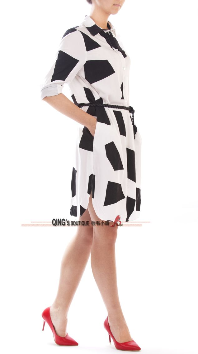Black and white shirtdress.
