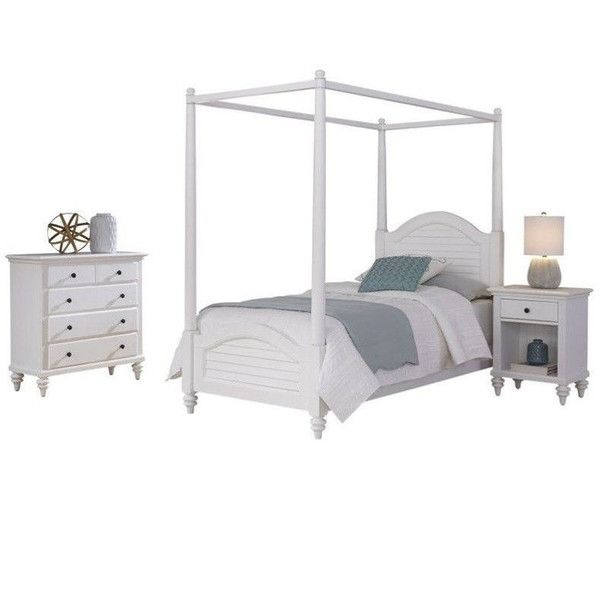 Home Styles Bermuda 3 Piece Wood Twin Canopy Bedroom Set ($1,199) ❤ liked on Polyvore featuring white
