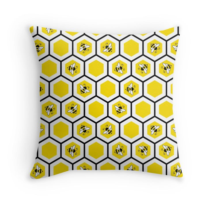 """Honeycomb and bee pattern"" Throw Pillows by Stock Image Folio 