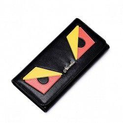 NUCELLE Długi skórzany portfel damski Czarny