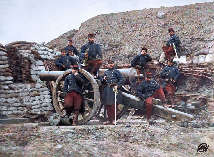 French soldiers during the Franco-Prussian War, 1870. : ColorizedHistory
