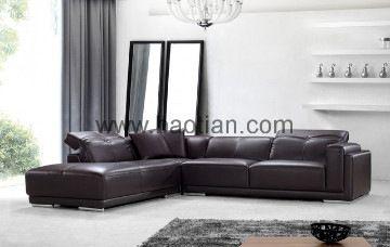 Cuero moderno L sofá de la esquina, apoyo para la cabeza ajustable de los muebles de Baotian