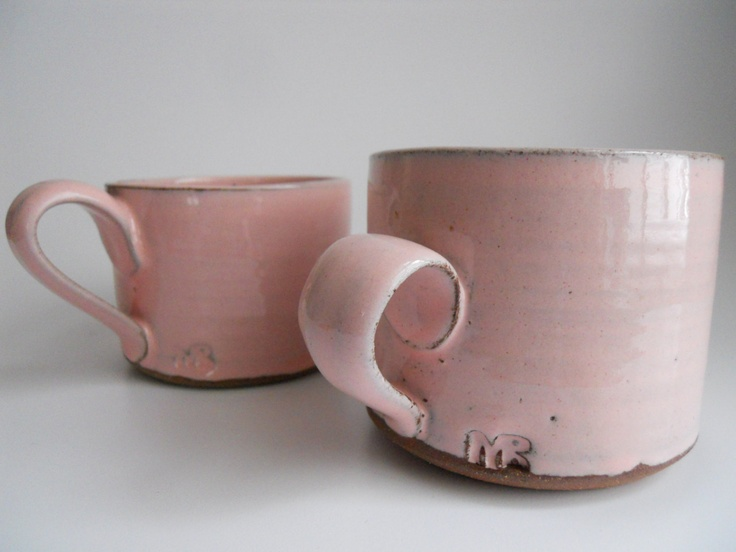 charming handmade pink glazed mugs - via Etsy