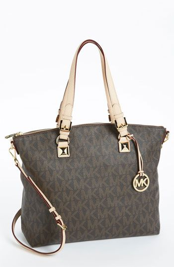 MICHAEL Michael Kors 'Jet Set - Signature' Tote available at #Nordstrom  Love the vanilla color!