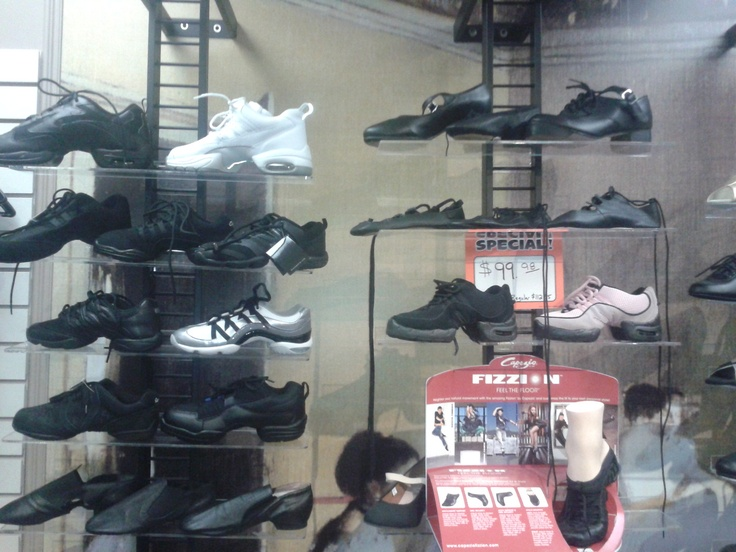 Sneakers, jazz shoes, tap shoes, etc