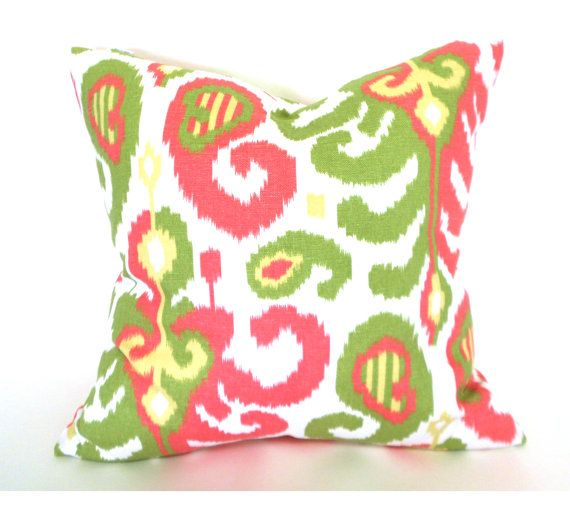 Suburban Ikat Rasul Pink And Green Throw Pillow Amazing Design