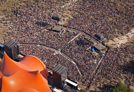 Aerial view of the Roskilde Festival, Denmark (© Carsten Snejbjerg/epa/Corbis)