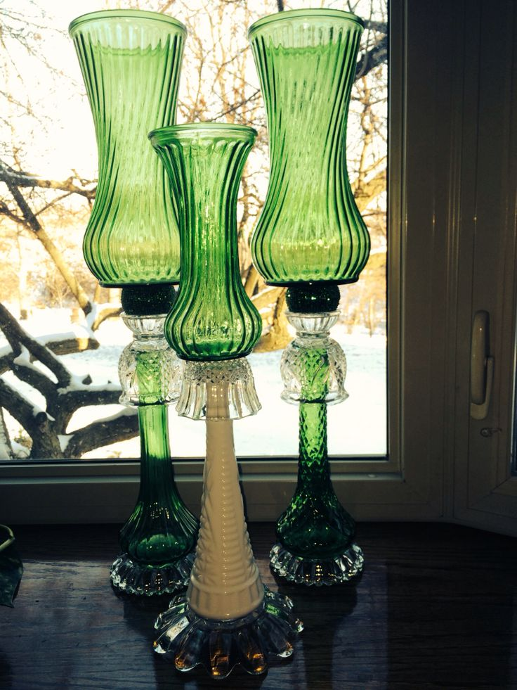 DIY hurricane lamps! I made these out of old vases ashtrays and napkin holders :) I loved how they looked on my table during Christmas time!  ❤️