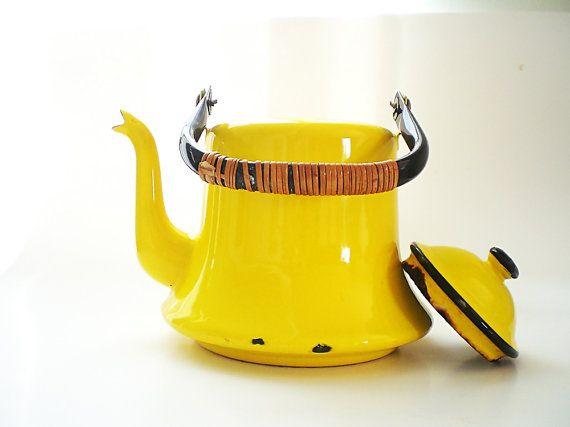 Yellow Enamel Pot, Vintage Kitchenware, Retro Kitchen Decor, Yellow Enamelware Kettle, Graniteware Tea Kettle, Japan on Etsy, $20.00 for parents