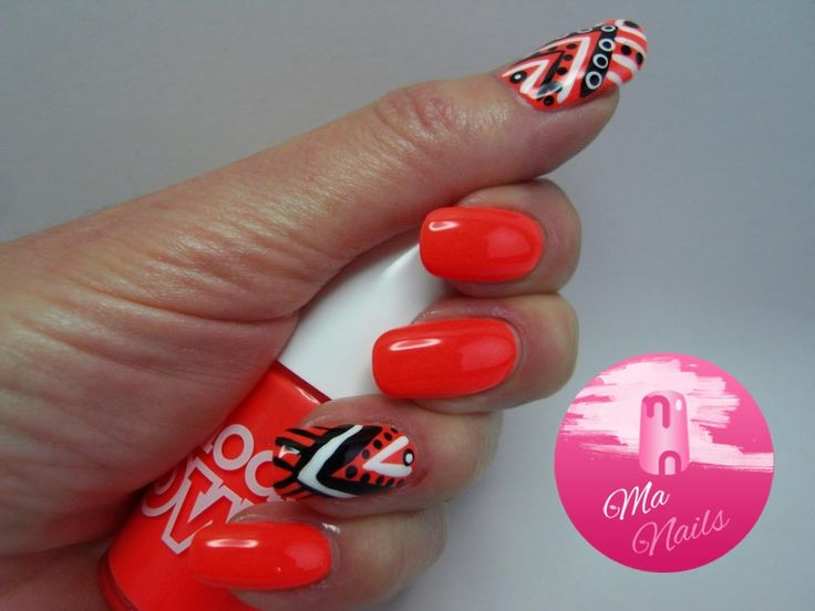 Neon Coral Nails with Tribal Accents   http://ma-nails.co.uk/neon-coral-nails-with-tribal-accents/