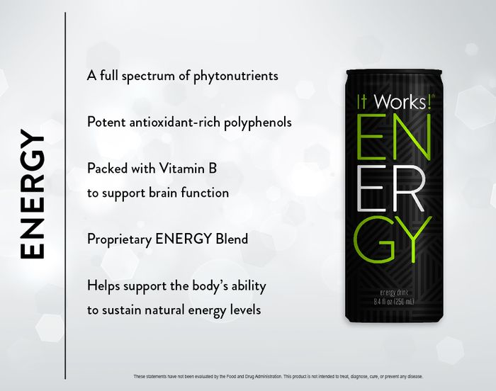 Energy: This is not your typical energy drink! ENERGY is blended with a proprietary formula and packed with natural stimulants, so no jittery effects like those other energy drinks can cause.