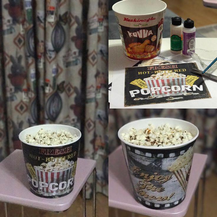 Popcorn box popcorn bowl decoupaj dekupaj tekniğiyle patlamış mısır kovası