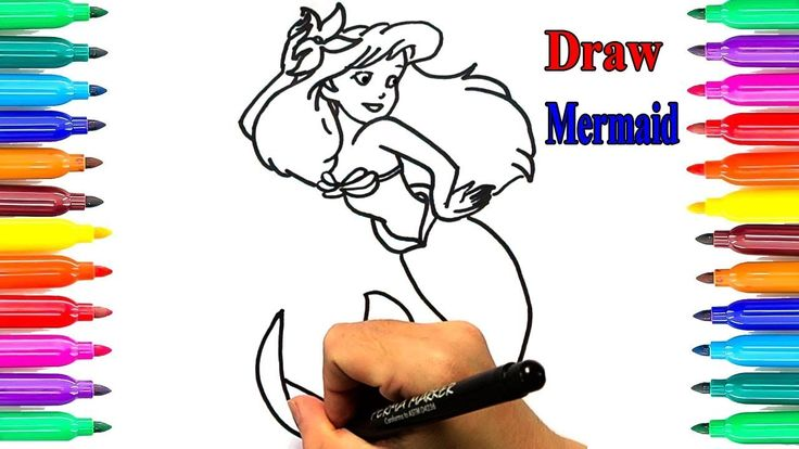 mermaid princess kids learning drawings children painting color sketches kids - Painting Sketches For Kids