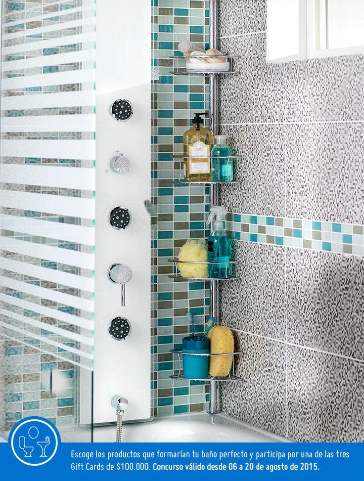 Tener organizados los elementos de ducha es mucho mas sencillo con esta repisa