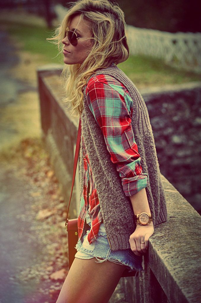 plaid and sweater vest