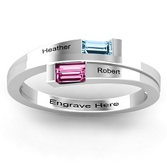 Baguette Birthstone Bypass Mothers Ring